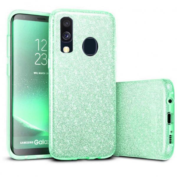 Husa Samsung Galaxy A40 2019 Verde Color Silicon TPU Carcasa Sclipici 0