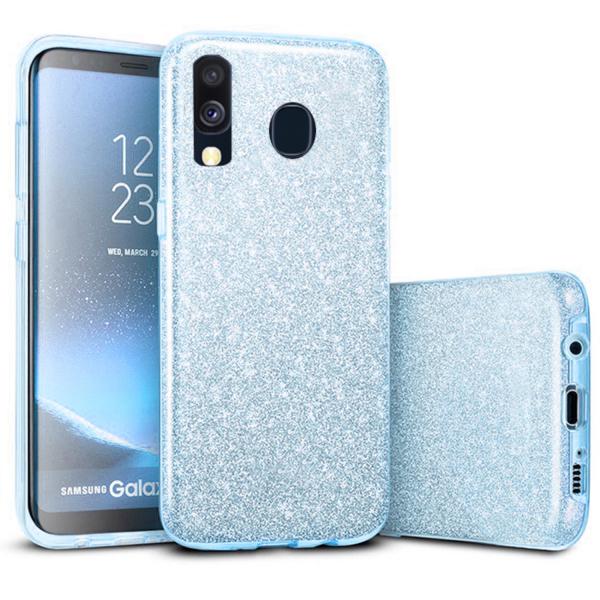 Husa Samsung Galaxy A40 2019 Albastru Color Silicon TPU Carcasa Sclipici 0