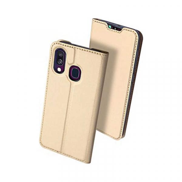 Husa Samsung Galaxy A40 2019 Gold Toc Piele Eco Premium DuxDucis Portofel Flip Cover Magnetic Auriu 1