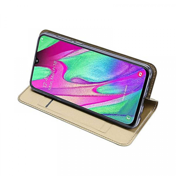 Husa Samsung Galaxy A40 2019 Gold Toc Piele Eco Premium DuxDucis Portofel Flip Cover Magnetic Auriu 3