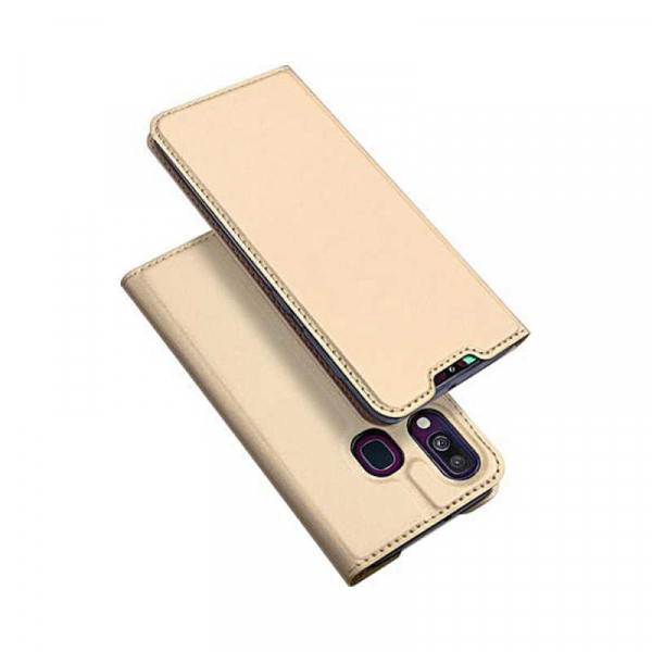 Husa Samsung Galaxy A40 2019 Gold Toc Piele Eco Premium DuxDucis Portofel Flip Cover Magnetic Auriu 0