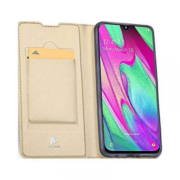Husa Samsung Galaxy A40 2019 Gold Toc Piele Eco Premium DuxDucis Portofel Flip Cover Magnetic Auriu 2