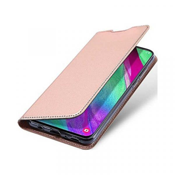 Husa Samsung Galaxy A40 2019 Roz Toc Piele Eco Premium DuxDucis Portofel Flip Cover Magnetic [4]