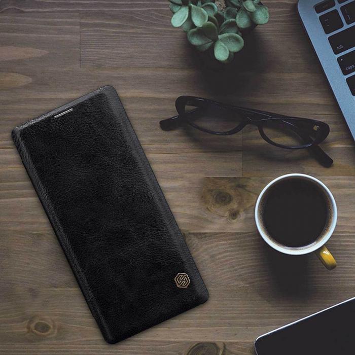 Husa Samsung Galaxy A41 2020 Negru Toc Flip Nillkin Qin Piele Eco Premium Tip Carte Portofel 3