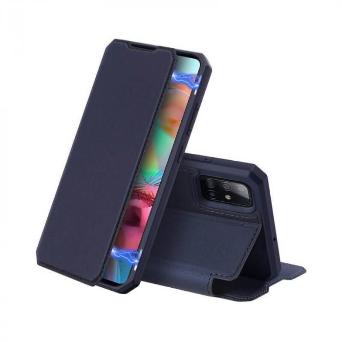 Husa Samsung Galaxy A41 2020 Toc Flip Tip Carte Portofel Bleumarin Piele Eco X-Skin [0]