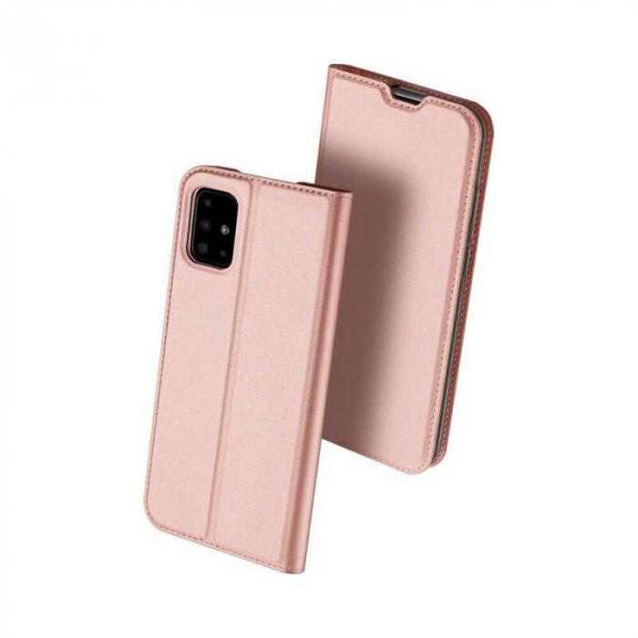 Husa Samsung Galaxy A41 2020 Toc Flip Tip Carte Portofel Roz Piele Eco DuxDucis 0