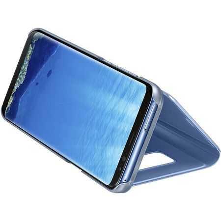 Husa Samsung Galaxy A5 / A8 2018 Clear View Flip Toc Carte Standing Cover Oglinda Albastru 2