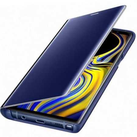 Husa Samsung Galaxy A5 / A8 2018 Clear View Flip Toc Carte Standing Cover Oglinda Albastru 4