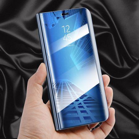 Husa Samsung Galaxy A5 / A8 2018 Clear View Flip Toc Carte Standing Cover Oglinda Albastru 3