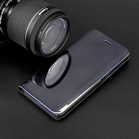 Husa Samsung Galaxy A5 / A8 2018 Clear View Flip Toc Carte Standing Cover Oglinda Negru 4