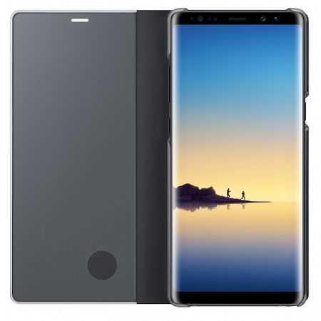 Husa Samsung Galaxy A5 / A8 2018 Clear View Flip Toc Carte Standing Cover Oglinda Negru 1