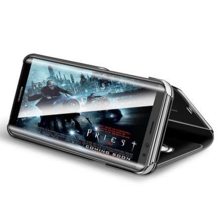 Husa Samsung Galaxy A5 / A8 2018 Clear View Flip Toc Carte Standing Cover Oglinda Negru 2