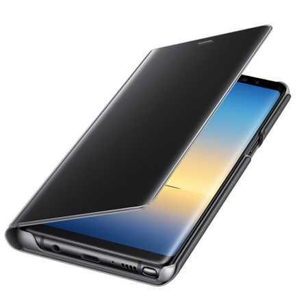 Husa Samsung Galaxy A5 / A8 2018 Clear View Flip Toc Carte Standing Cover Oglinda Negru 3