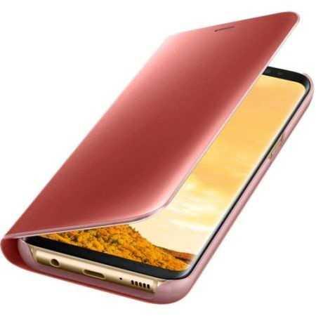 Husa Samsung Galaxy A5 / A8 2018 Clear View Flip Toc Carte Standing Cover Oglinda Roz Rose Gold 1