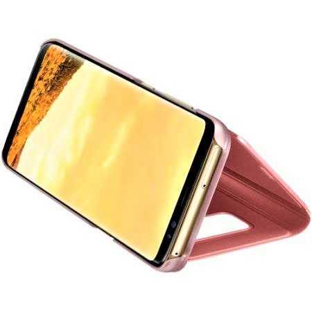 Husa Samsung Galaxy A5 / A8 2018 Clear View Flip Toc Carte Standing Cover Oglinda Roz Rose Gold 3