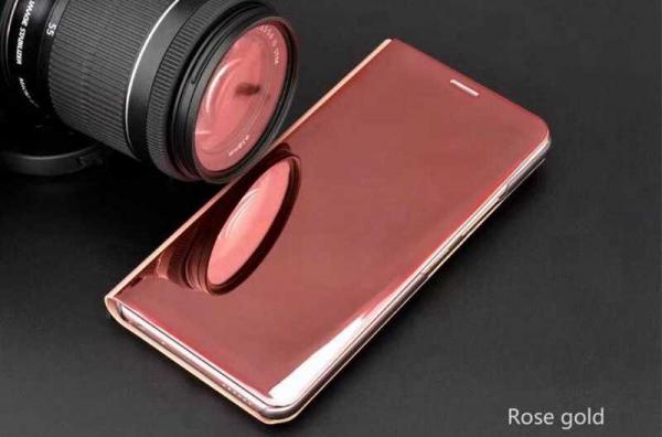 Husa Samsung Galaxy A5 / A8 2018 Clear View Flip Toc Carte Standing Cover Oglinda Roz Rose Gold 2