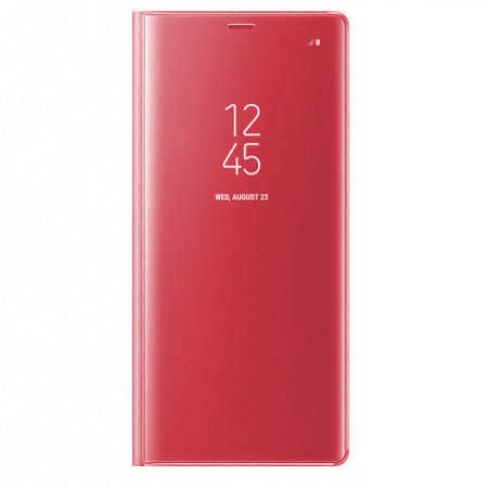 Husa Samsung Galaxy A5 / A8 2018 Clear View Flip Toc Carte Standing Cover Oglinda Roz Rose Gold 0