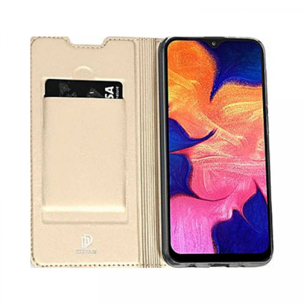Husa Samsung Galaxy A50 2019 Auriu Piele Eco Toc Tip Carte Portofel Premium DuxDucis 3