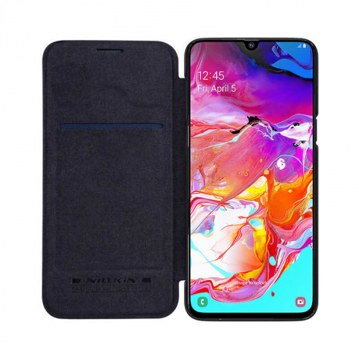 Husa Samsung Galaxy A51 2019 Negru Toc Flip Nillkin Qin Piele Eco Premium Tip Carte Portofel 0