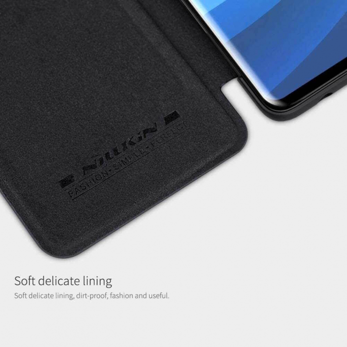 Husa Samsung Galaxy A51 2019 Negru Toc Flip Nillkin Qin Piele Eco Premium Tip Carte Portofel 2
