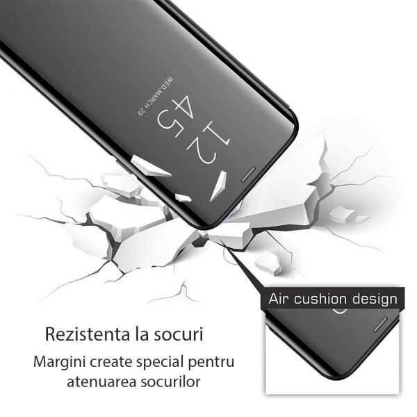 Husa Samsung Galaxy A6 Plus (2018) Clear View Flip Standing Cover (Oglinda) Negru (Black) 2