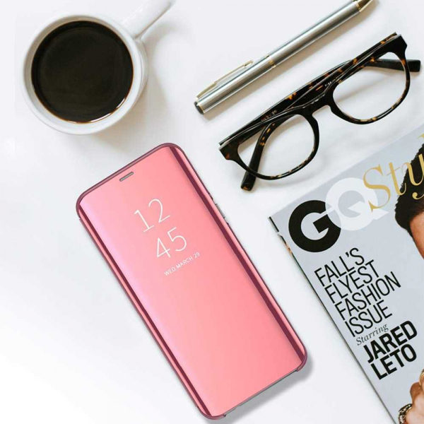 Husa Samsung Galaxy A6 Plus (2018) Clear View Flip Standing Cover (Oglinda) Roz (Rose Gold) 4
