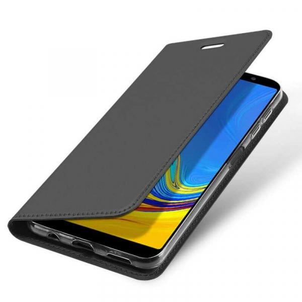 Husa Samsung Galaxy A7 2018 Toc Flip Portofel Negru Piele Eco DuxDucis 3