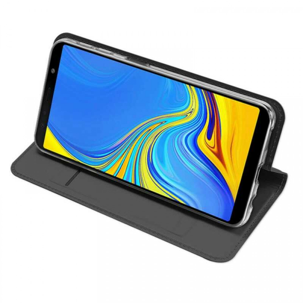Husa Samsung Galaxy A7 2018 Toc Flip Portofel Negru Piele Eco DuxDucis 2