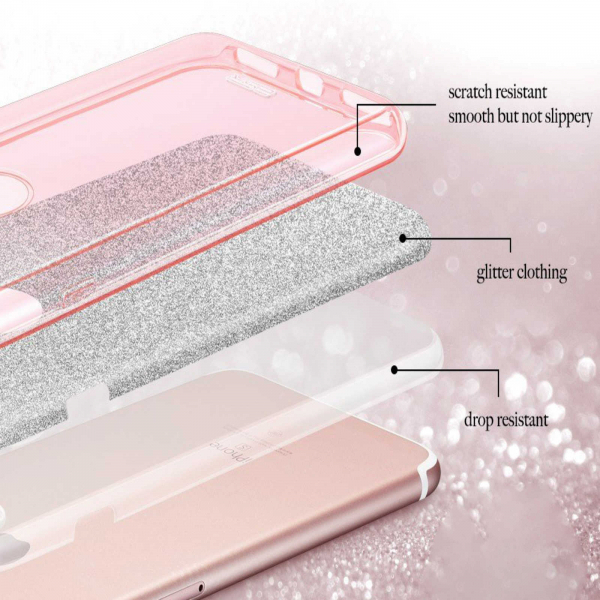 Husa Samsung Galaxy A70 2019 Sclipici TPU Carcasa Spate Roz Glitter 2