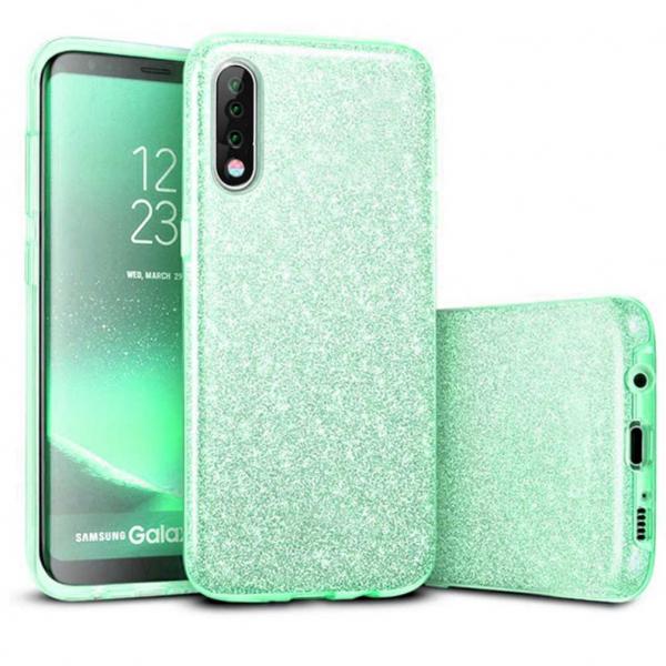 Husa Samsung Galaxy A70 2019 Sclipici TPU Carcasa Spate Verde Glitter 0