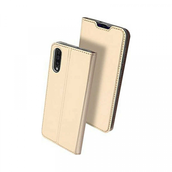 Husa Samsung Galaxy A70 2019 Toc Flip Portofel Auriu Gold Piele Eco DuxDucis [0]