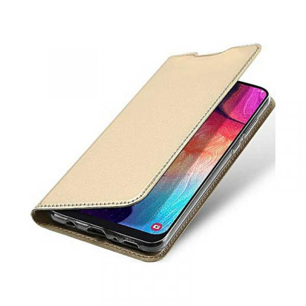 Husa Samsung Galaxy A70 2019 Toc Flip Portofel Auriu Gold Piele Eco DuxDucis [3]