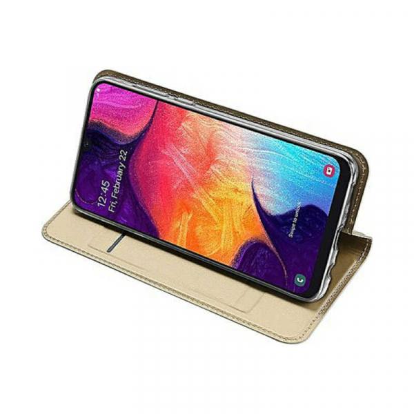 Husa Samsung Galaxy A70 2019 Toc Flip Portofel Auriu Gold Piele Eco DuxDucis [2]
