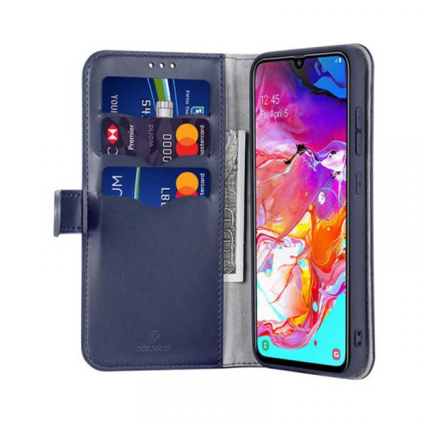 Husa Samsung Galaxy A70 2019 Toc Flip Tip Carte Portofel Albastru Piele Eco Premium DuxDucis Kado 1