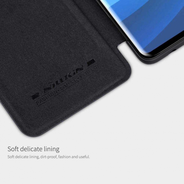 Husa Samsung Galaxy A71 2020 Negru Toc Flip Nillkin Qin Piele Eco Premium Tip Carte Portofel 4