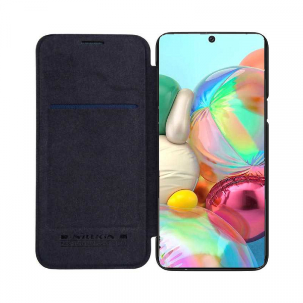 Husa Samsung Galaxy A71 2020 Negru Toc Flip Nillkin Qin Piele Eco Premium Tip Carte Portofel 2