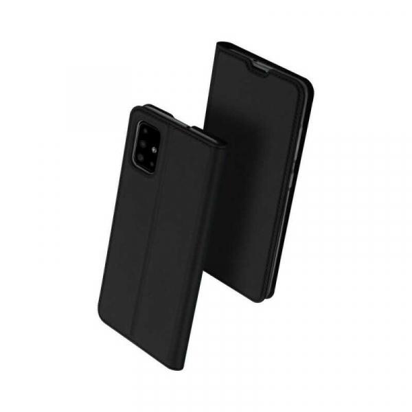 Husa Samsung Galaxy A71 2020 Toc Flip Portofel Negru Piele Eco DuxDucis 0