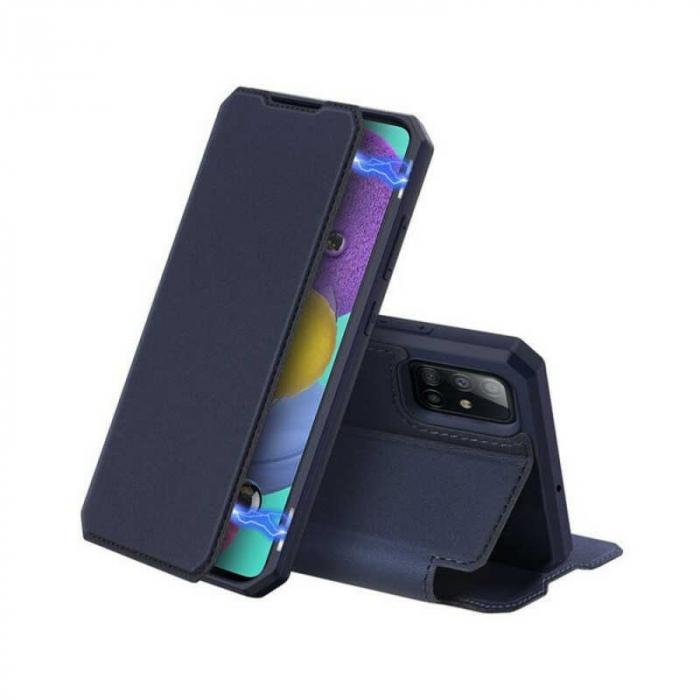 Husa Samsung Galaxy A71 2020 Toc Flip Tip Carte Portofel Bleumarin Piele Eco X-Skin [0]
