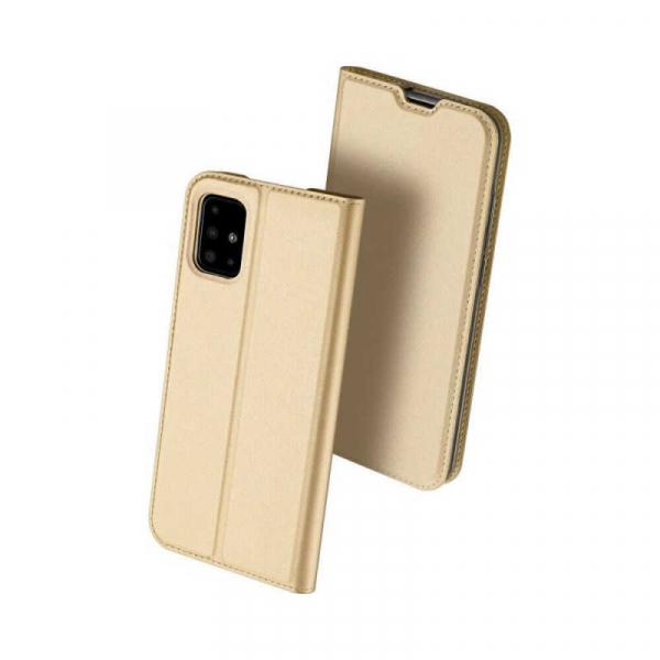Husa Samsung Galaxy A71 2020 Toc Flip Tip Carte Portofel Piele Eco Premium DuxDucis Gold Auriu 0