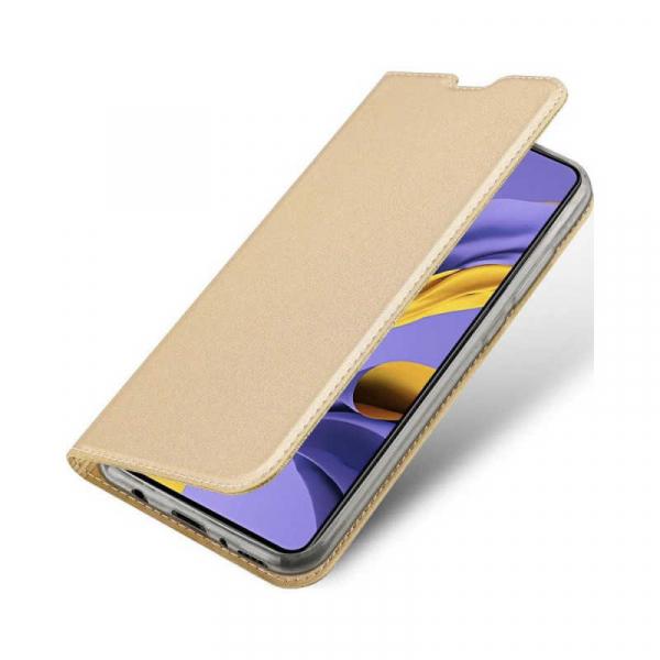 Husa Samsung Galaxy A71 2020 Toc Flip Tip Carte Portofel Piele Eco Premium DuxDucis Gold Auriu 3