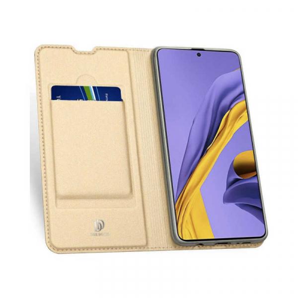 Husa Samsung Galaxy A71 2020 Toc Flip Tip Carte Portofel Piele Eco Premium DuxDucis Gold Auriu 1