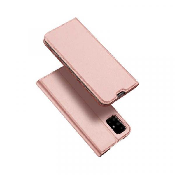 Husa Samsung Galaxy A71 2020 Toc Flip Tip Carte Portofel Piele Eco Premium DuxDucis Roz 4