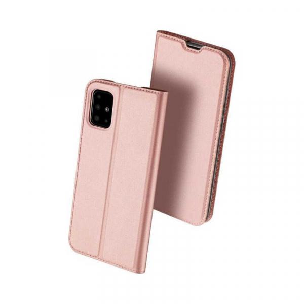 Husa Samsung Galaxy A71 2020 Toc Flip Tip Carte Portofel Piele Eco Premium DuxDucis Roz 0