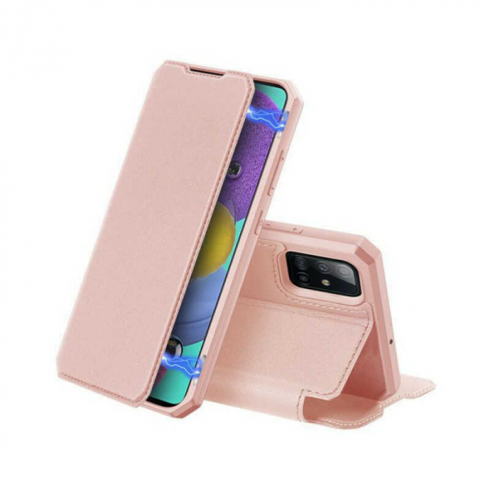Husa Samsung Galaxy A71 2020 Toc Flip Tip Carte Portofel Roz Piele Eco X-Skin 0