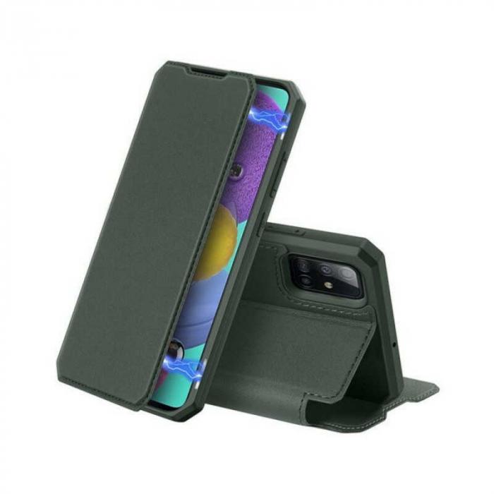 Husa Samsung Galaxy A71 2020 Toc Flip Tip Carte Portofel Verde Piele Eco X-Skin 0