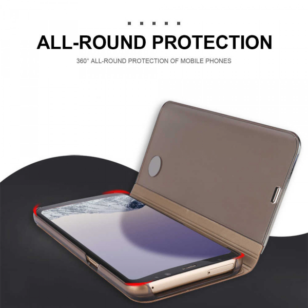 Husa Samsung Galaxy A8 Plus Clear View Flip Standing Cover (Oglinda) Auriu (Gold) [4]