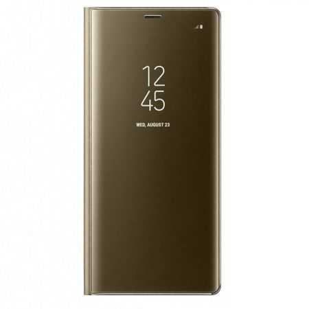 Husa Samsung Galaxy A8 Plus Clear View Flip Standing Cover (Oglinda) Auriu (Gold) [0]