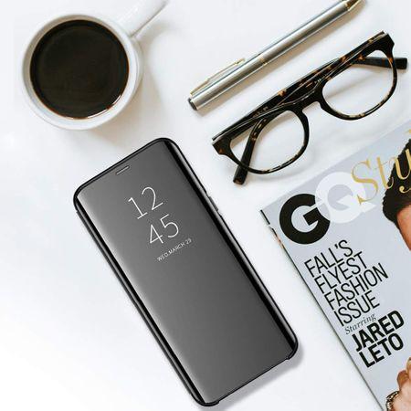 Husa Samsung Galaxy A9 2018 Clear View Flip Standing Cover (Oglinda) Negru (Black) 2