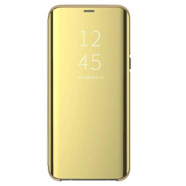 Husa Samsung Galaxy A90 2019 Clear View Flip Standing Cover Oglinda Auriu Gold 0