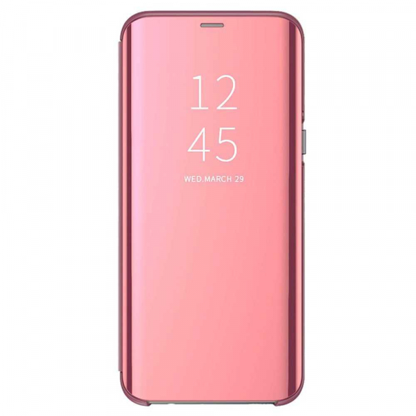 Husa Samsung Galaxy A90 2019 Clear View Flip Standing Cover Oglinda Roz 0